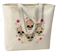 Gothic Sugar Skulls New Large Canvas Tote Bag, Day of the Dead