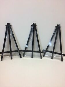 Lot of 3 Black Wood Folding Easel Display Stands for Art, Plates, Collectibles