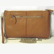 CAMEL ZIP GENUINE LEATHER WRISTLET CHAIN CLUTCH BAG