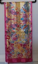 CJ Banks Floral Bumble Bee print scarf, yellow, pinks, orange, blues NWT