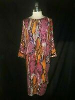 TIANA B Size L Dress Pink Black Purple Snake Animal Print Stretch 3/4th Sleeve