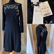 Vestido de punto negro Monzón Milly Size UK 10 Fit & Flare nuevo PVP £ 70 Bordado