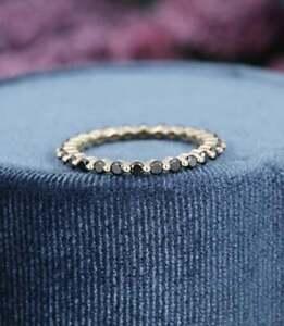 0.65 Carat Round Black Diamond Full Eternity Wedding Ring 14K Yellow Gold Finish