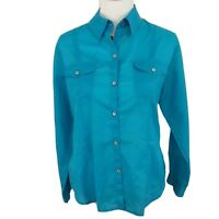 Chico's Women's Top Size 1 Medium Blue Roll Tab Long Sleeves Button Shirt Cotton