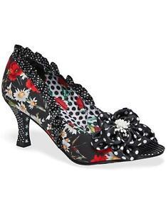 NEW! Natalia JOE BROWNS Womens Retro Floral Peep toe Heels Black - S2