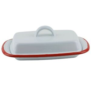 White Covered Enamel Butter Dish with Lid Red Trim Retro Farmhouse