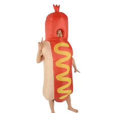 Funny Unisex Adult Hot Dog Costume Halloween Cosplay Inflatable Suit