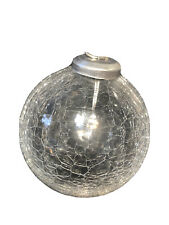 """FREE Shipping Crackle Clear Glass Christmas Ornament, 4"""" SILVER TOP HANDMADE"""