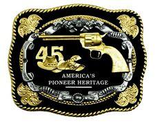 """Gun Belt Buckle """"45"""" Magnum Revolver American Western Theme Authentic White Wolf"""