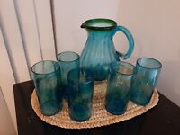 Set of 5 MEXICAN Hand Blown Glass and Pitcher Tumblers VINTAGE pre owned blue