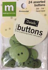 "WILLOW GREEN CIRCLE ULTRA-THIN BUTTONS(24pc)Making Memories•Asst. Sizes 3/8-7/8"""