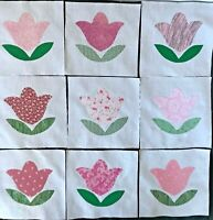 """Blue Print Fabric Airplane Appliques on 6/"""" Cotton Quilt Top Blocks Lot of 9"""