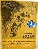28. Juin 1953 Moto Voiture Course à le / la Bayer Croix Programme Siegel VII02 Å