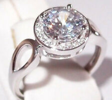 Simulated Diamond Solitaire in rhodium plated Sterling Silver, 2.15ct, Size M.