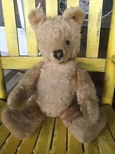 "Antique Fully Jointed Mohair Teddy Bear Golden 20"" Steiff Worn Tagged Ear"