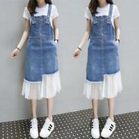 Womens Denim Jeans Suspender Skirts Rompers Overalls Casual Long Slip Dress Hot