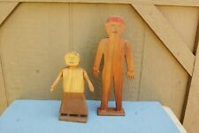 "Folk Art Primitve Carved Wood 10"" Red Hair Man & 7"" Woman Arms Move Sculpture"