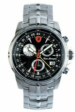 TONINO LAMBORGHINI Men's PILOT Power Reserve/Day/Date/Alarm Swiss Watch-Black