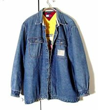 Vtg Blue Denim Tommy Hilfiger Silver Button Yellow Quilted Bomber Jacket M /L
