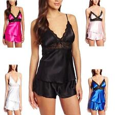 Women Sexy Smooth Satin Lace Sleepwear Babydoll Lingerie Nightdress Pajamas Set