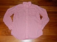 Girl's Orange & White Checked Oxford Top Blouse - Lands' End - Size M (10/12)