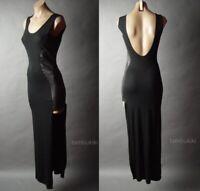 Sale Backless Open Back Black Faux Leather Goth Tank Long Maxi 28 mv Dress S M L