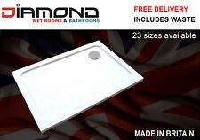 Slimline 40mm 900x760 DIAMOND Stone Shower Enclosure Tray Rectangle Free Waste
