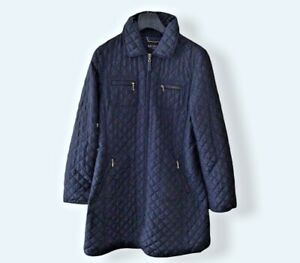 Hobbs - Ladies Navy Blue Lightly Quilted Coat - Size UK 10 Used VGC