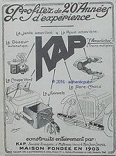 PUBLICITE KAP COUPE VENT PARE CHOC REMORQUE LA SUIVANTE PARE BRISE DE 1926 AD