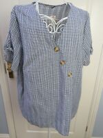 BNWT Blue White Check Gingham Blouse Top Plus Size 22 Pure Cotton Short Sleeves