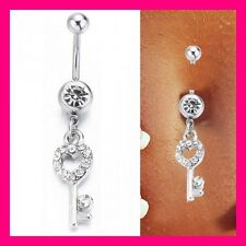 PIERCING NOMBRIL CRYSTAL STRASS CLE CLEF BELLY NAVEL RING BAR RING KEY CZ 316L