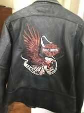 Harley Davidson Mens LEGENDARY Embroided Eagle Distressed Leather Jacket LARGE