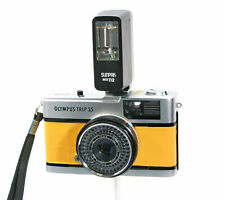 Olympus Trip 70s 35mm Film Camera  + Flash, Yellow Leather,  Case, Film Tested
