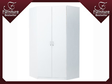 Large 2 Door Corner Wardrobe 2 Rails and 4 Shelves - SZ06 - New - White