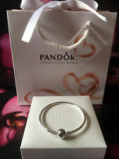 Genuine Pandora 21cm Moments Sterling Silver Charm Bangle #590713 RRP£55