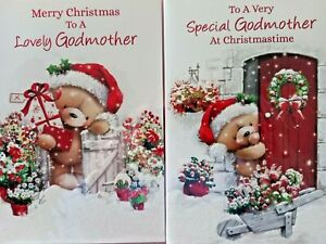 GODMOTHER CHRISTMAS CARD  ~ CHOICE OF 2 CUTE DESIGNS ~ QUALITY CARDS