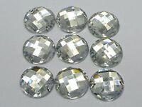 50 Clear Acrylic Flatback Sewing Rhinestone Round Button 20mm Sew on beads