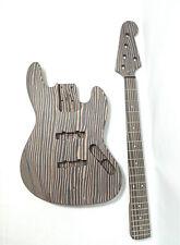 5-String Jazz Bass Guitar DIY Kit,Technical Zebra Wood Body & Neck,No-Soldering