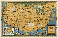 AMERICAN Indians Historic Tribes 1944 pictorial map POSTER 8703