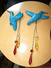 LOT OF TWO BLUE HUMMINGBIRD WALL HANGINGS HOME DECOR