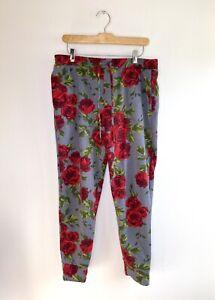 $150 Betsey Johnson Fleece Back Sweatpant Jogger Floral Rose Lounge pants L