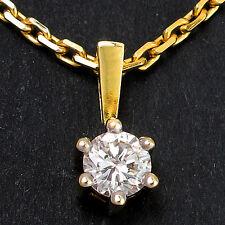 Solitär-Anhänger mit Kette1 Diamant ca. 0,25 ct W-SI in 585 Gelbgold - 4,5g 45cm