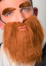 Brown Beard and Eyebrow set. Fancy Dress Accessory Set.