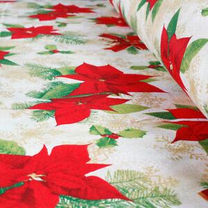 Tessuto al Metro Cotone a Fantasia Natalizia Fiori Stelle Natale Rosso h.280 cm