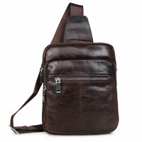 J.M.D Mens Retro Genuine Cowhide Leather Chest Bag Sling Backpack Crossbody Bag