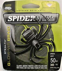 Spiderwire Stealth Glow-Vis Braid Fishing Line Green 50 # 300 Yards Fluoro Coat