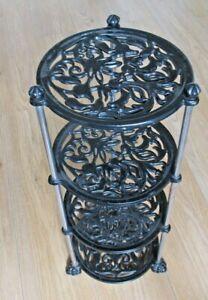Cast Iron 4 tier kitchen saucepan pot stand / garden plant stand etc