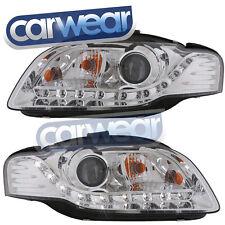 AUDI A4 B7 05-07 PROJECTOR DRL R8 STYLE LED HEAD LIGHTS CHROME LED DRL