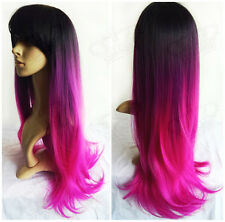 "27"" Women Ombre 3-Tone Black/Purple/Hot Pink Long Straight Hair Vogue Wig Party"