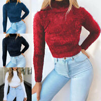 Women Turtleneck Plush Fleece Knitted Sweater Tops Bare Navel Cropped Pullover